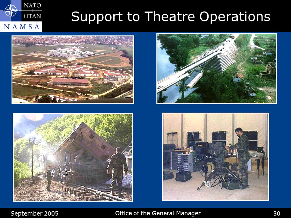 September 2005 Office of the General Manager 30 Support to Theatre Operations