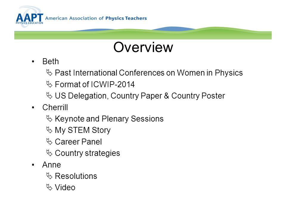 History of International Conference on Women in Physics 2002 – Paris, France (12 US Delegates, 1 Team Leader) 2005 – Rio de Janeiro, Brazil (19 US Delegates, 2 Team Leaders) 2008 – Seoul, Korea (29 US Delegates, 3 Team Leaders) 2011 – Stellenbosch, South Africa (24 US Delegates, 4 Team Leaders)