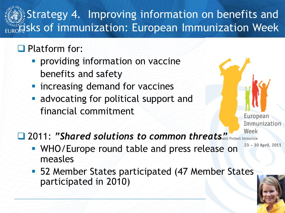  Platform for:  providing information on vaccine benefits and safety  increasing demand for vaccines  advocating for political support and financial commitment  2011: Shared solutions to common threats  WHO/Europe round table and press release on measles  52 Member States participated (47 Member States participated in 2010) Strategy 4.
