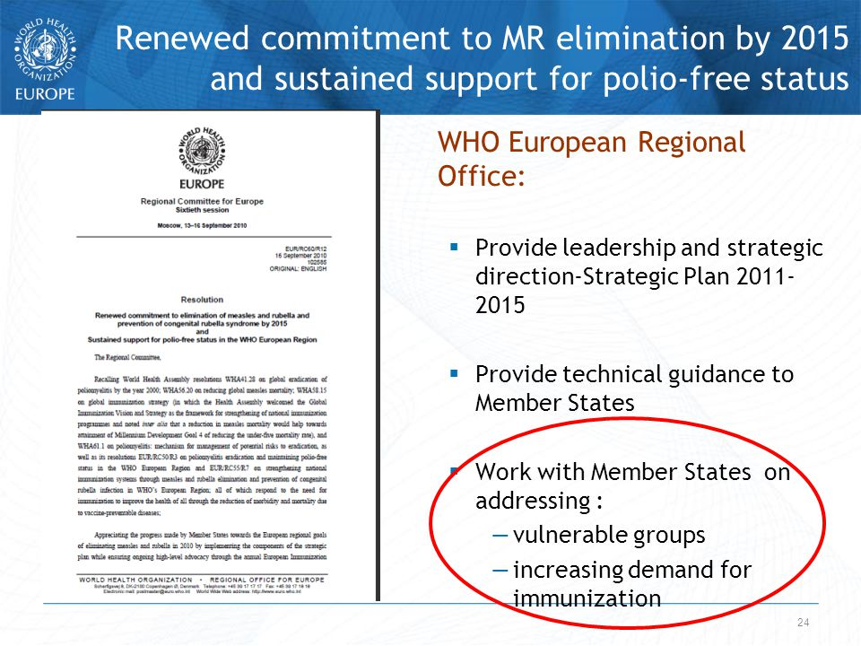 Renewed commitment to MR elimination by 2015 and sustained support for polio-free status 24 WHO European Regional Office:  Provide leadership and strategic direction-Strategic Plan 2011- 2015  Provide technical guidance to Member States  Work with Member States on addressing : —vulnerable groups —increasing demand for immunization