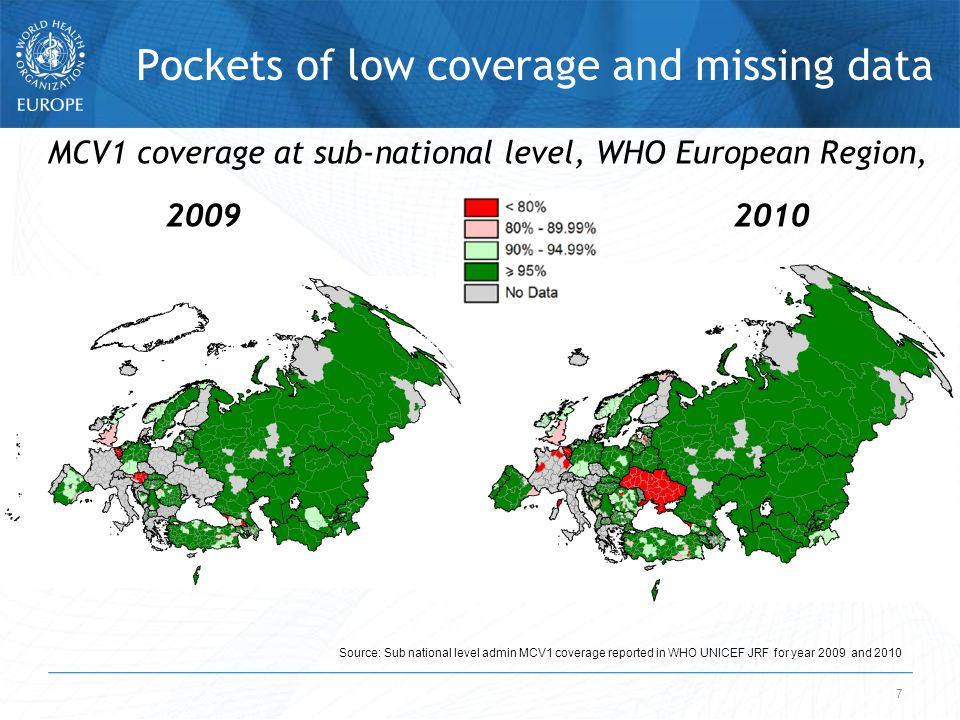 7 Pockets of low coverage and missing data Source: Sub national level admin MCV1 coverage reported in WHO UNICEF JRF for year 2009 and 2010 MCV1 coverage at sub-national level, WHO European Region, 2009 2010