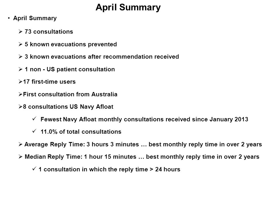 April Summary  73 consultations  5 known evacuations prevented  3 known evacuations after recommendation received  1 non - US patient consultation  17 first-time users  First consultation from Australia  8 consultations US Navy Afloat Fewest Navy Afloat monthly consultations received since January 2013 11.0% of total consultations  Average Reply Time: 3 hours 3 minutes … best monthly reply time in over 2 years  Median Reply Time: 1 hour 15 minutes … best monthly reply time in over 2 years 1 consultation in which the reply time > 24 hours