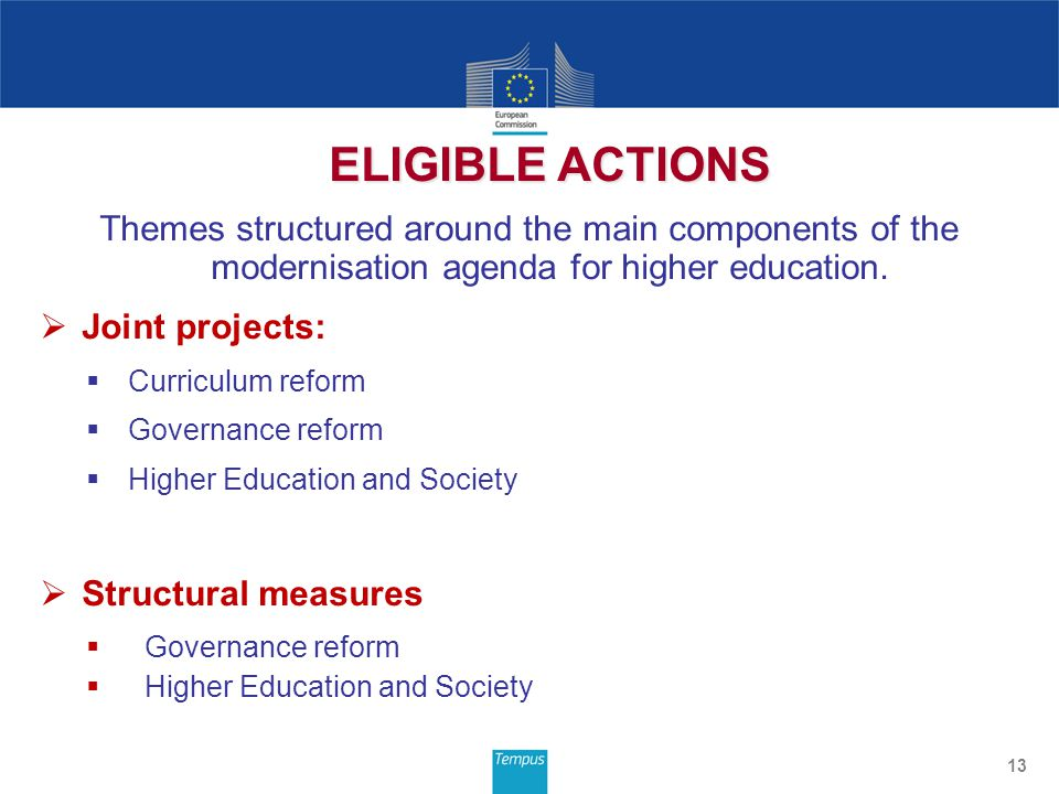 Themes structured around the main components of the modernisation agenda for higher education.