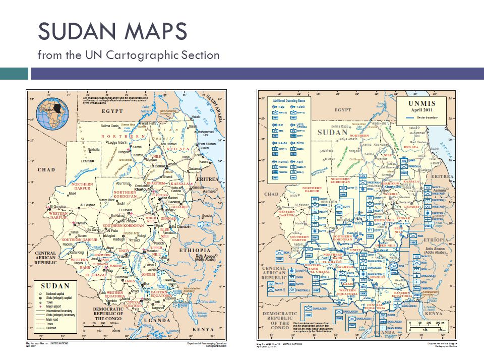 SUDAN MAPS from the UN Cartographic Section
