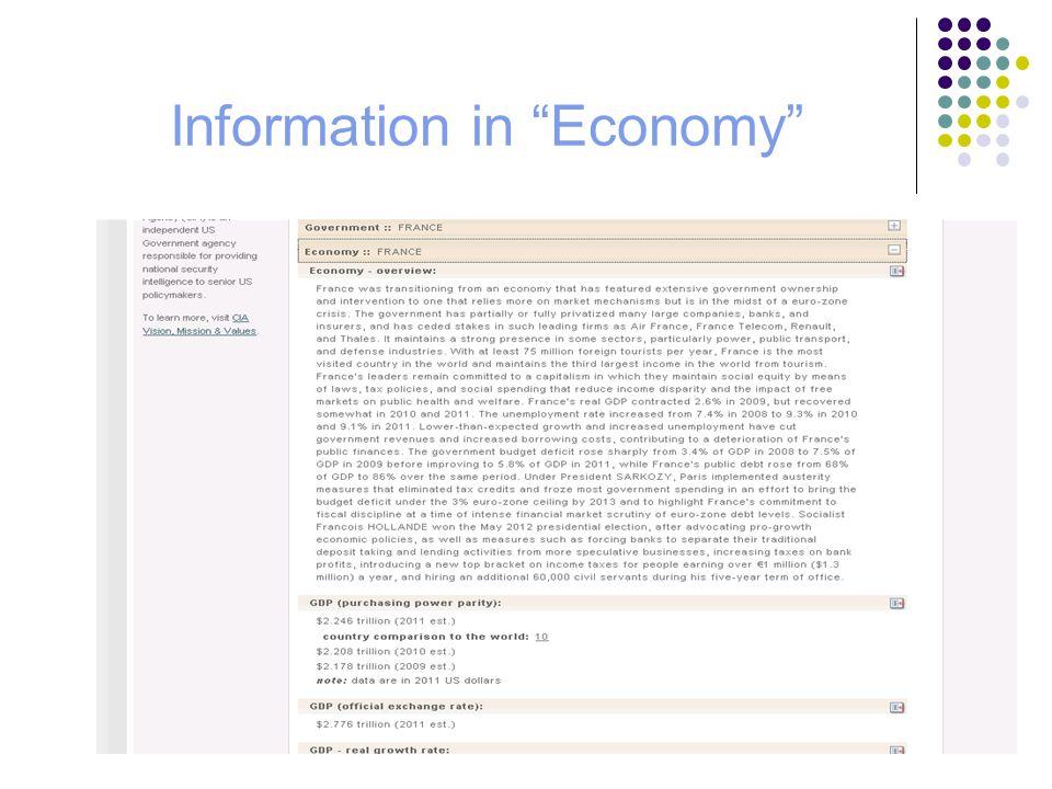 Information in Economy