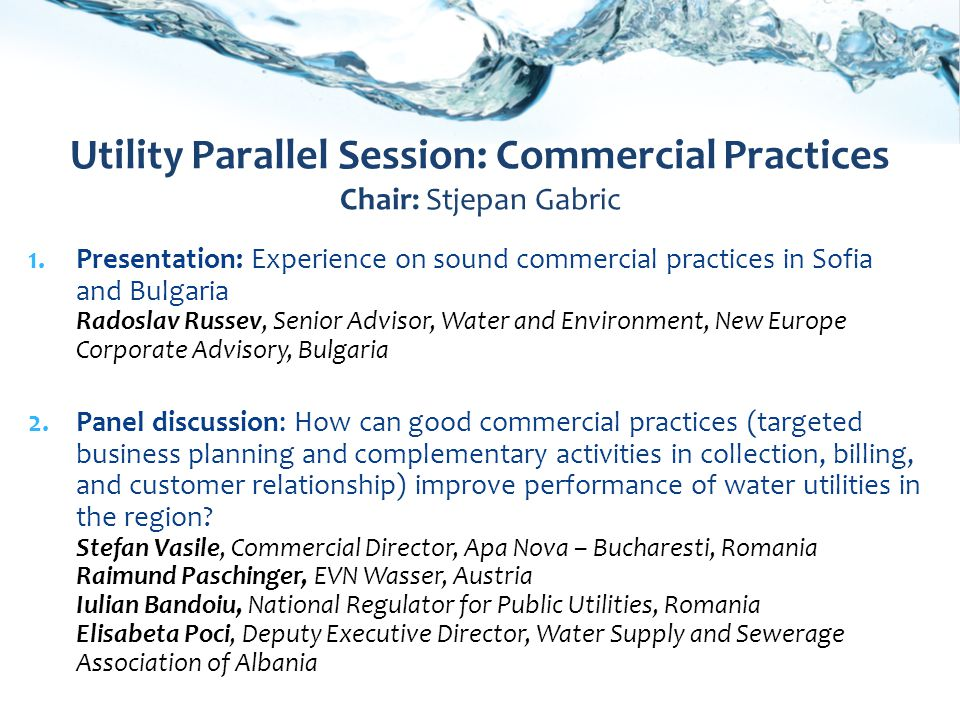 1.Presentation: Experience on sound commercial practices in Sofia and Bulgaria Radoslav Russev, Senior Advisor, Water and Environment, New Europe Corporate Advisory, Bulgaria 2.Panel discussion: How can good commercial practices (targeted business planning and complementary activities in collection, billing, and customer relationship) improve performance of water utilities in the region.