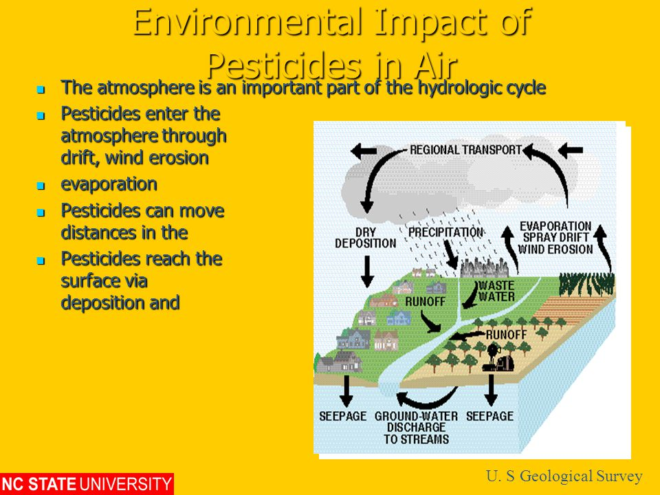 Environmental Impact of Pesticides in Air The atmosphere is an important part of the hydrologic cycle The atmosphere is an important part of the hydrologic cycle Pesticides enter the atmosphere through drift, wind erosion and Pesticides enter the atmosphere through drift, wind erosion and evaporation evaporation Pesticides can move great distances in the atmosphere Pesticides can move great distances in the atmosphere Pesticides reach the earth's surface via dry deposition and precipitation Pesticides reach the earth's surface via dry deposition and precipitation U.