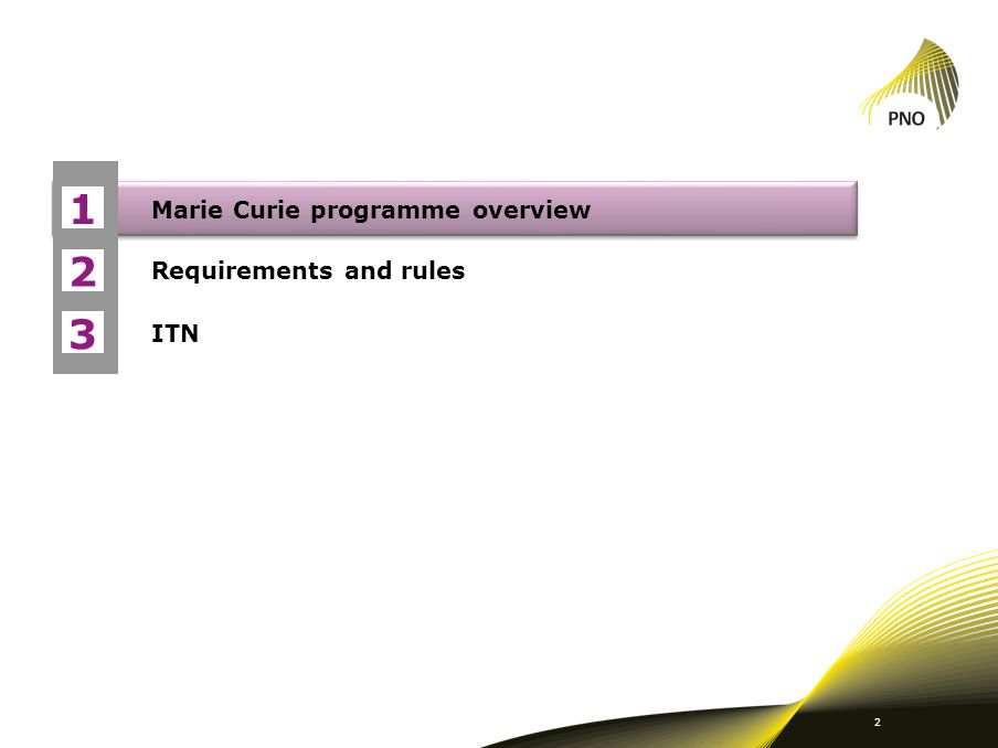 Marie Curie programme overview Requirements and rules ITN 1 2 3 2