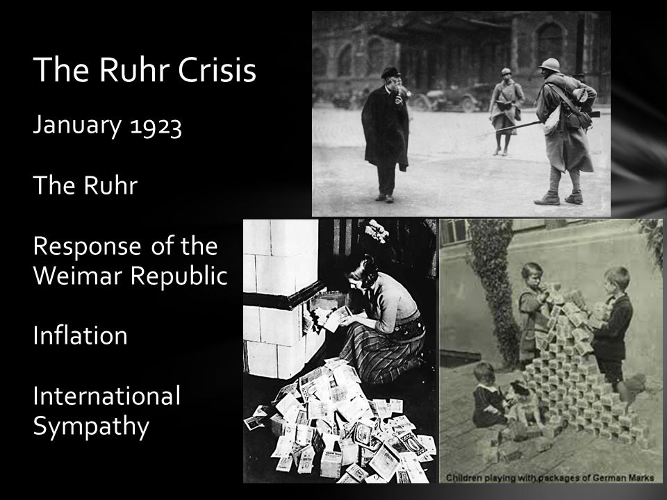 January 1923 The Ruhr Response of the Weimar Republic Inflation International Sympathy The Ruhr Crisis