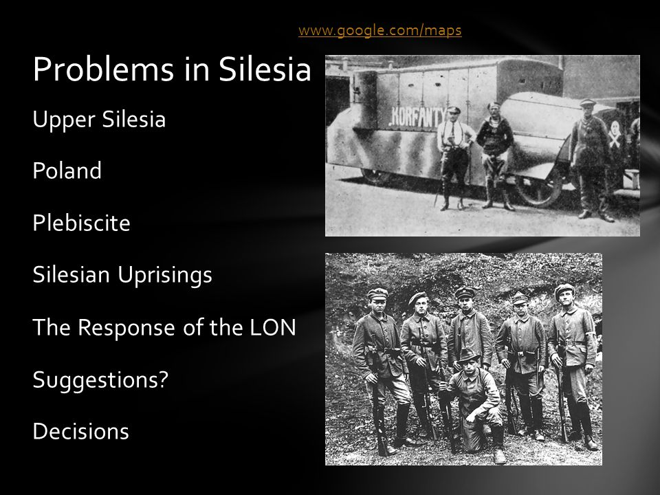 Upper Silesia Poland Plebiscite Silesian Uprisings The Response of the LON Suggestions.