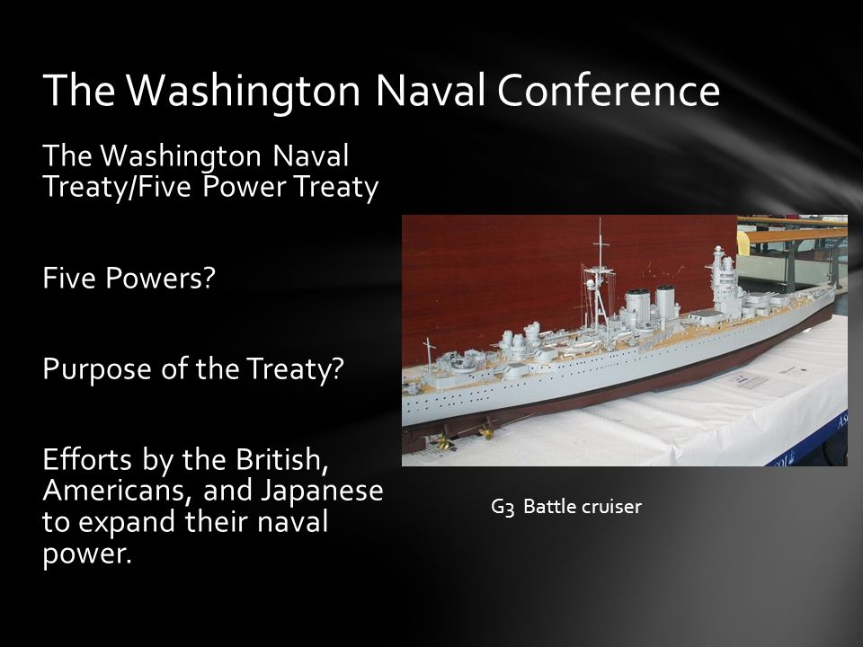 Terms: 35,000 tons 16 inch guns Aircraft carriers 5:5:3 ratio The Five Power Treaty