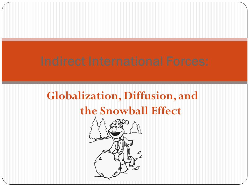Globalization, Diffusion, and the Snowball Effect Indirect International Forces: