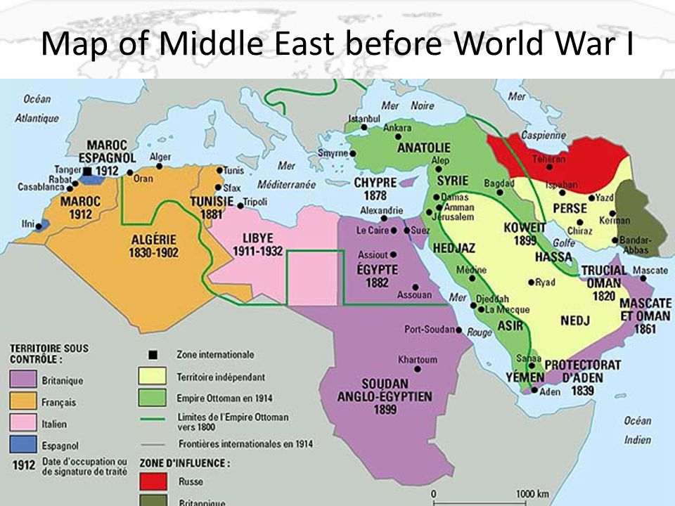Map of Middle East before World War I