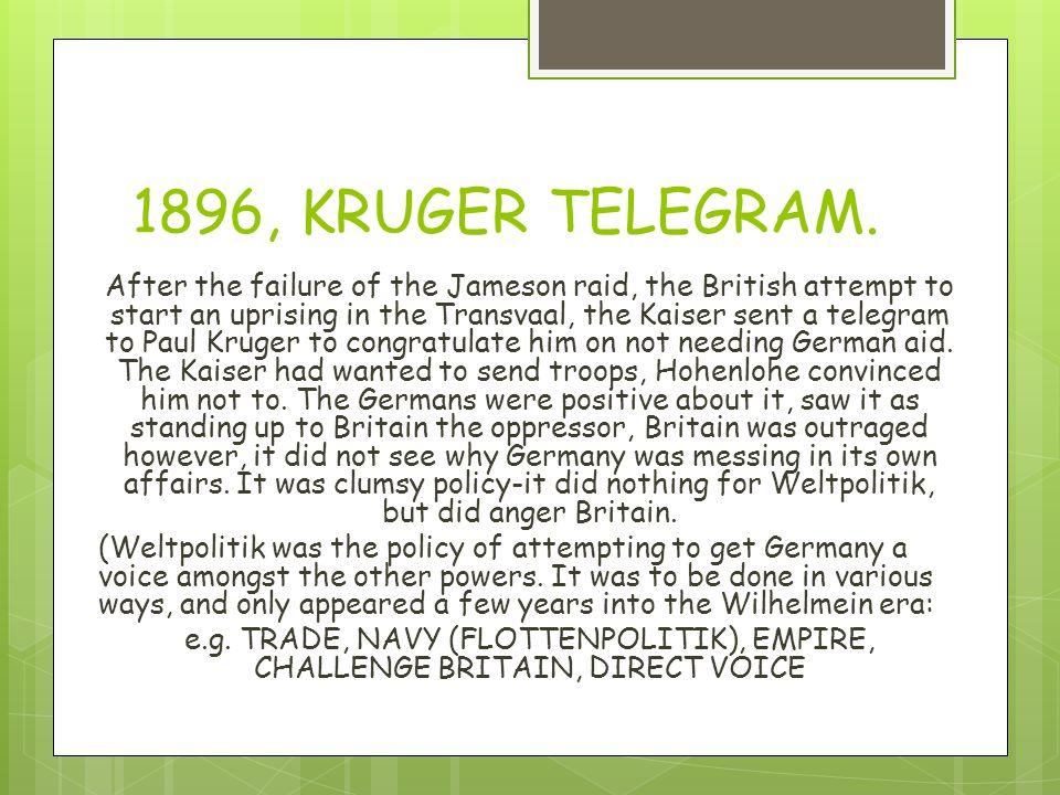 1896, KRUGER TELEGRAM.