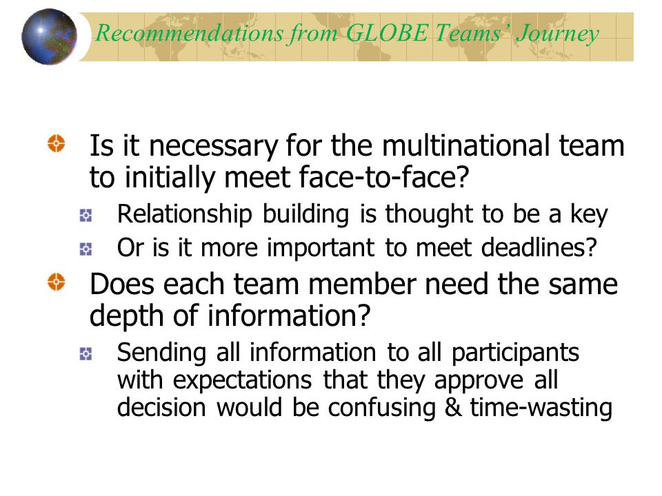Recommendations from GLOBE Teams' Journey Is it necessary for the multinational team to initially meet face-to-face.