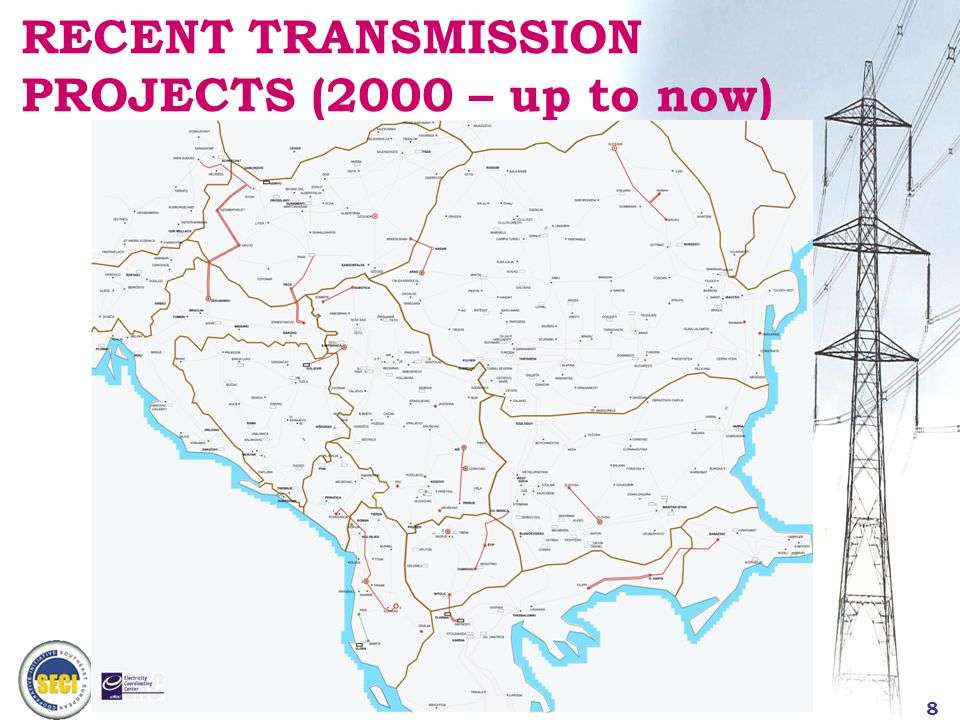 9 SEE TRANSMISSION SYSTEM Interconnection capacities (sum) – SEE + (A, HU, GR, SLO)