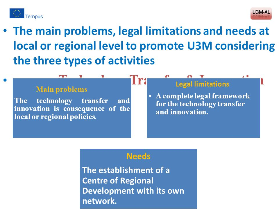 The main problems, legal limitations and needs at local or regional level to promote U3M considering the three types of activities Technology Transfer