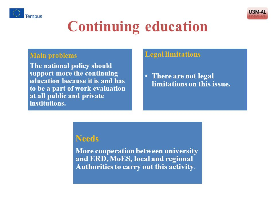 Continuing education Main problems The national policy should support more the continuing education because it is and has to be a part of work evaluat