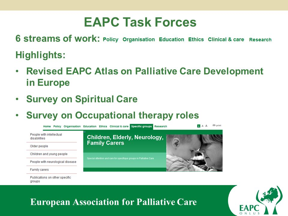European Association for Palliative Care EAPC Social Media Team Bringing you current news, opinion and debate on palliative care in Europe and beyond… To contribute, please contact: avriljacksoneapc@gmail.comavriljacksoneapc@gmail.com