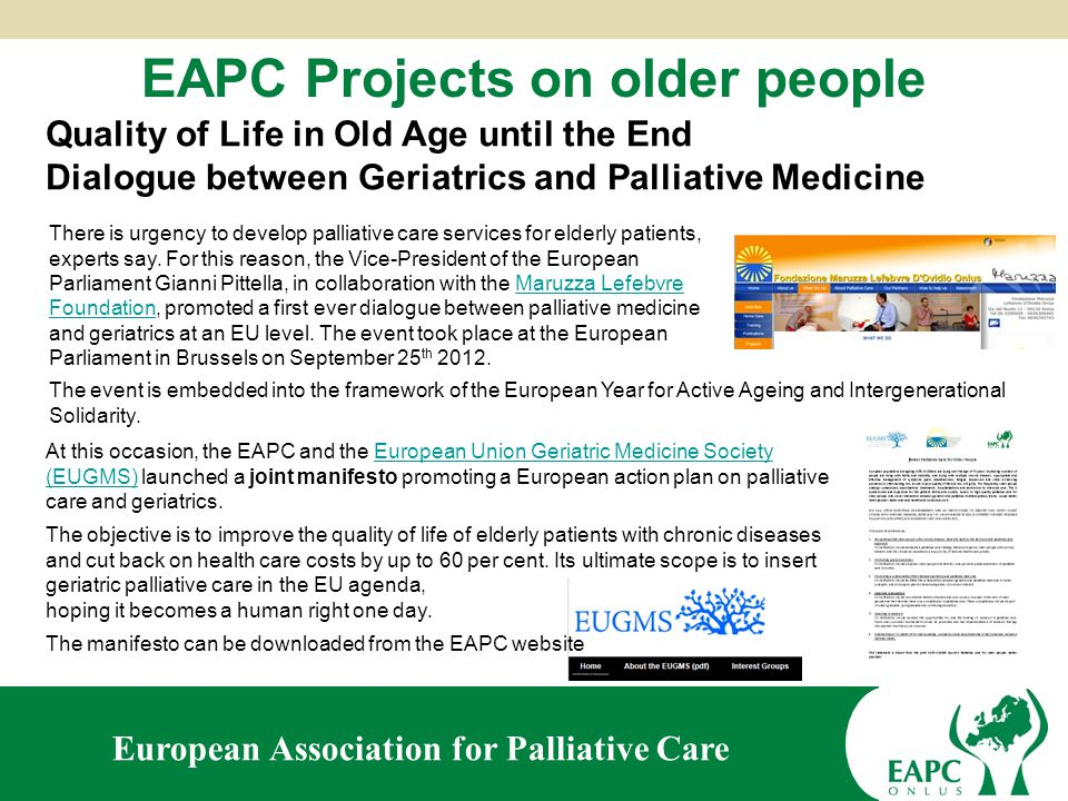 European Association for Palliative Care New EAPC task forces on palliative care for specific patient groups Bereavement Volunteers