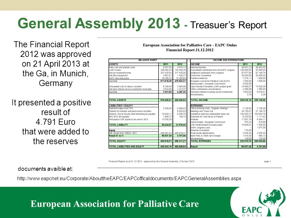 European Association for Palliative Care Second General Assembly 2013 of the European Association for Palliative Care Treasurer's Report