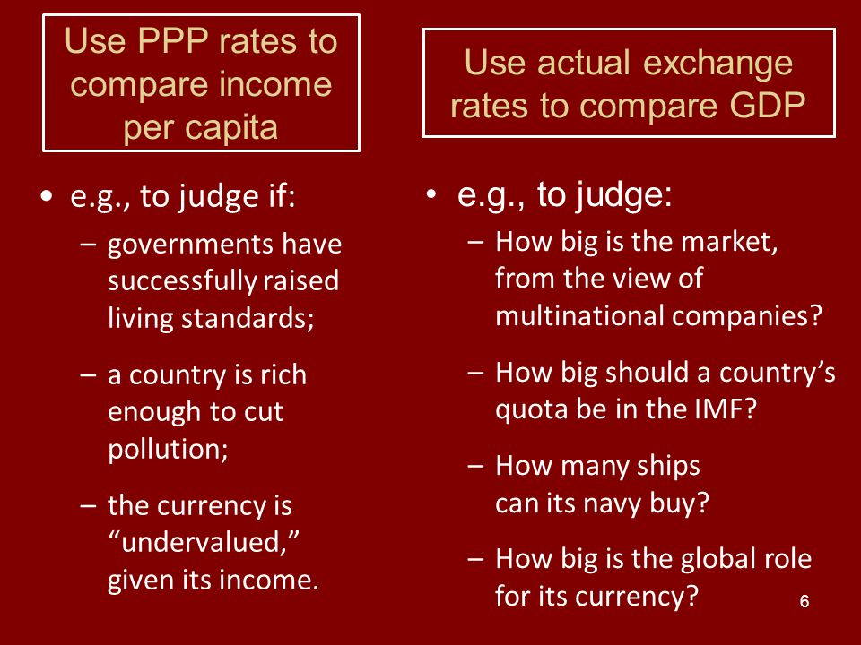 7 Measuring GDP Using actual exchange rates gives a different answer: The US is still 83% bigger than China.