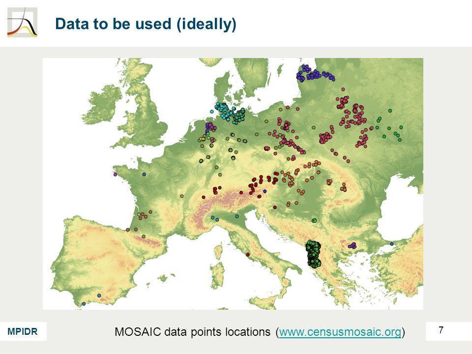 MPIDR Data used 8