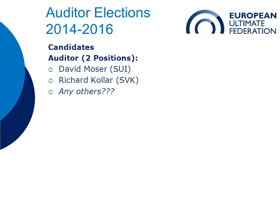 Auditor Elections 2014-2016 Candidates Auditor (2 Positions):  David Moser (SUI)  Richard Kollar (SVK)  Any others