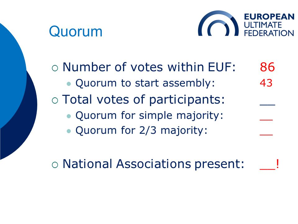 Quorum  Number of votes within EUF: 86 Quorum to start assembly:43  Total votes of participants: __ Quorum for simple majority:__ Quorum for 2/3 majority:__  National Associations present:__!