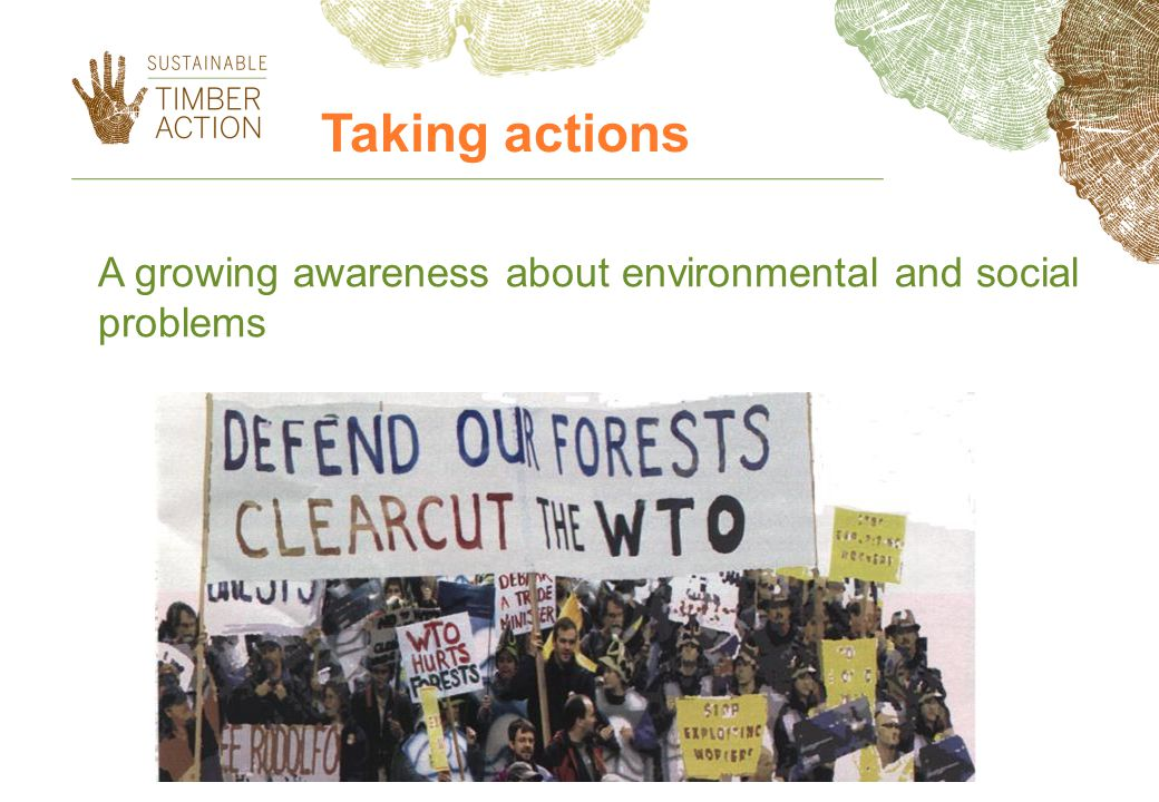 A growing awareness about environmental and social problems Taking actions