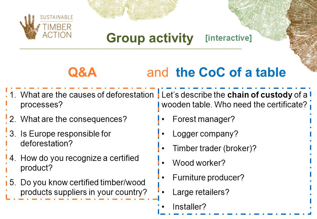 Q&A and the CoC of a table 1.What are the causes of deforestation processes.