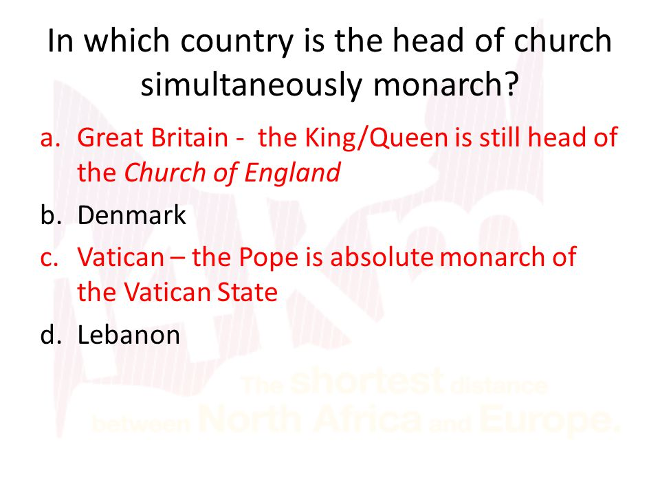 In which country is the head of church simultaneously monarch.