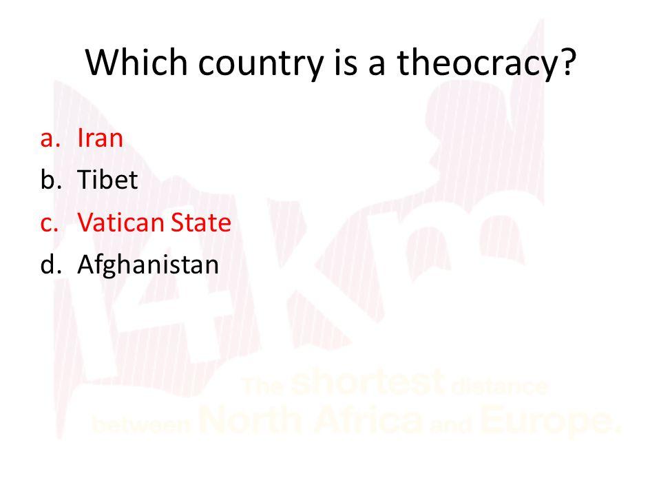 a.Iran b.Tibet c.Vatican State d.Afghanistan