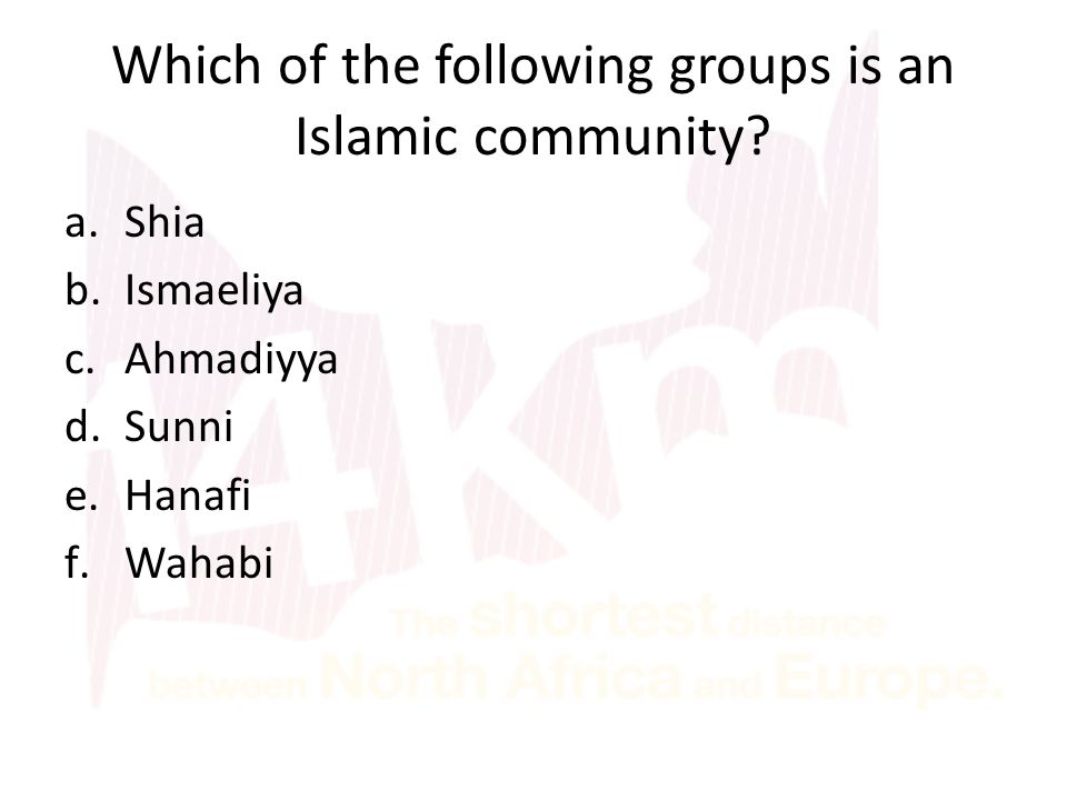 Which of the following groups is an Islamic community? a.Shia b.Ismaeliya c.Ahmadiyya d.Sunni e.Hanafi f.Wahabi