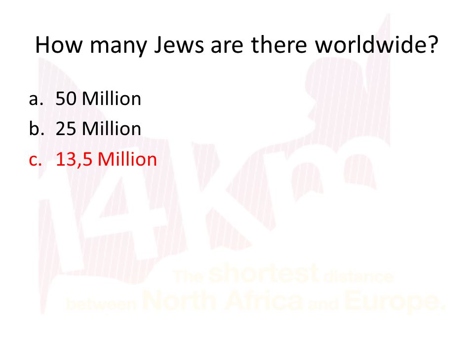 How many Jews are there worldwide? a.50 Million b.25 Million c.13,5 Million