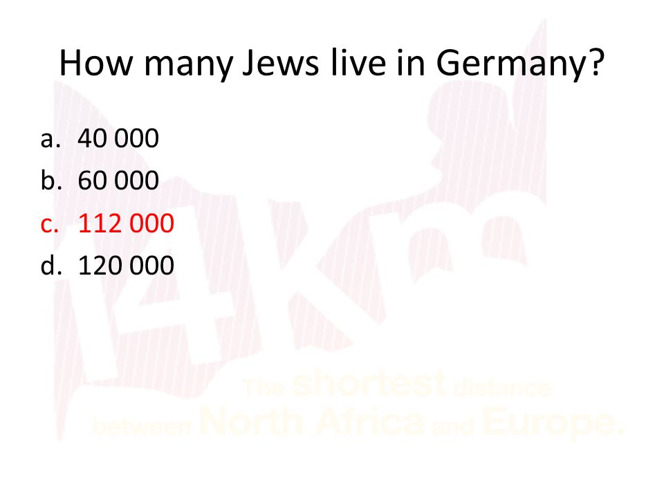 How many Jews live in Germany? a.40 000 b.60 000 c.112 000 d.120 000
