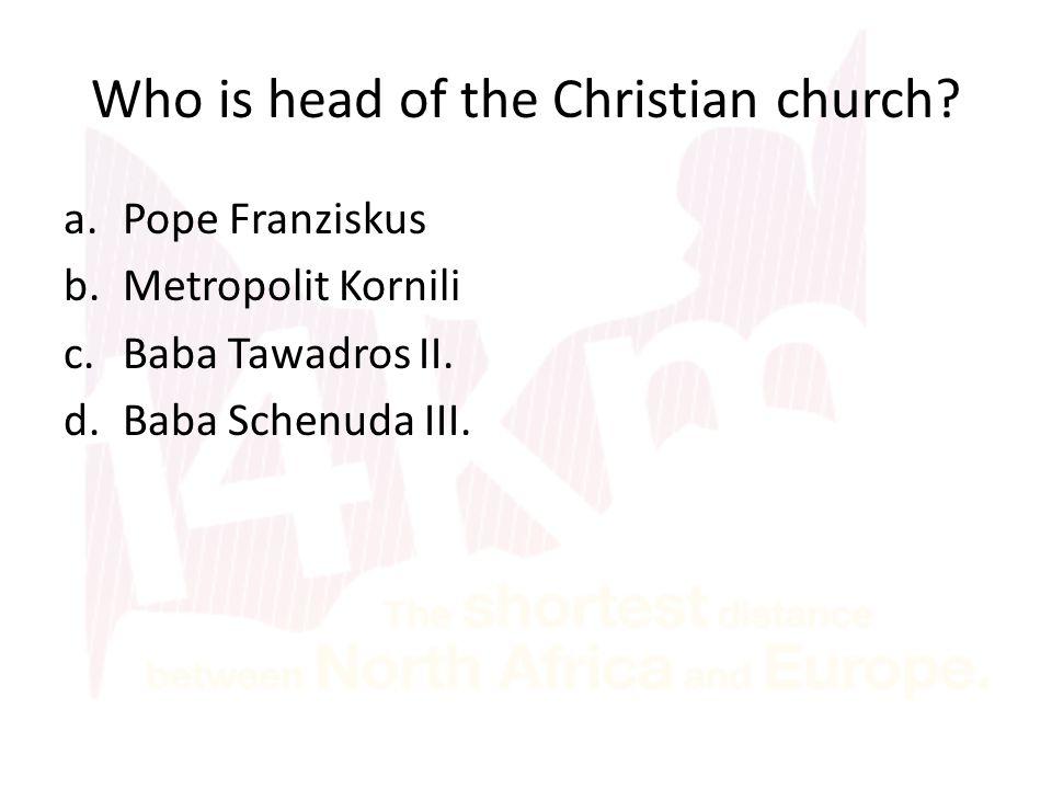 Who is head of the Christian church? a.Pope Franziskus b.Metropolit Kornili c.Baba Tawadros II. d.Baba Schenuda III.