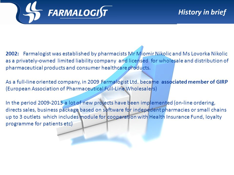 2002: Farmalogist was established by pharmacists Mr Miomir Nikolic and Ms Lovorka Nikolic as a privately-owned limited liability company and licensed for wholesale and distribution of pharmaceutical products and consumer healthcare products.