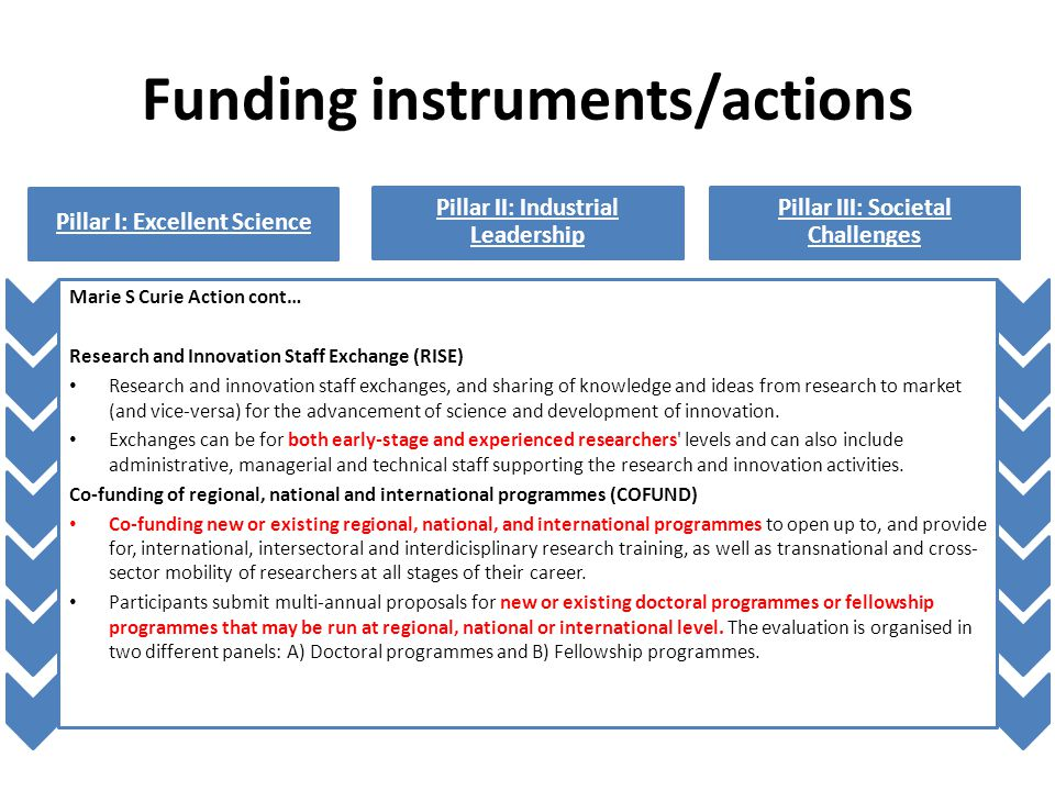Funding instruments/actions Pillar I: Excellent Science Pillar II: Industrial Leadership Pillar III: Societal Challenges Marie S Curie Action