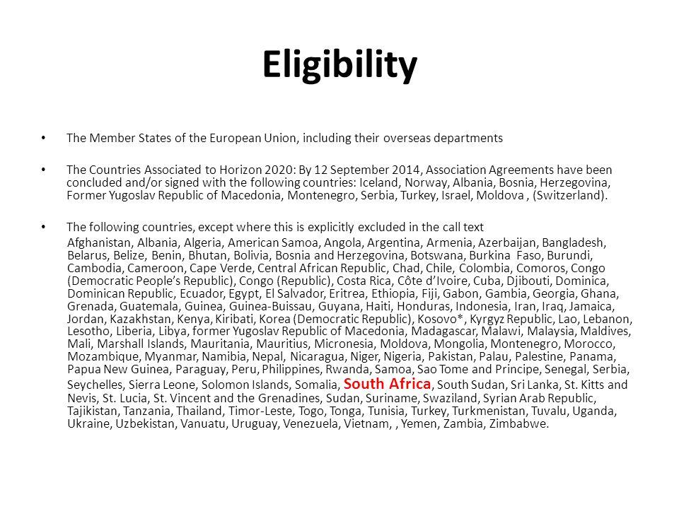 Minimum Participation At least three legal entities.