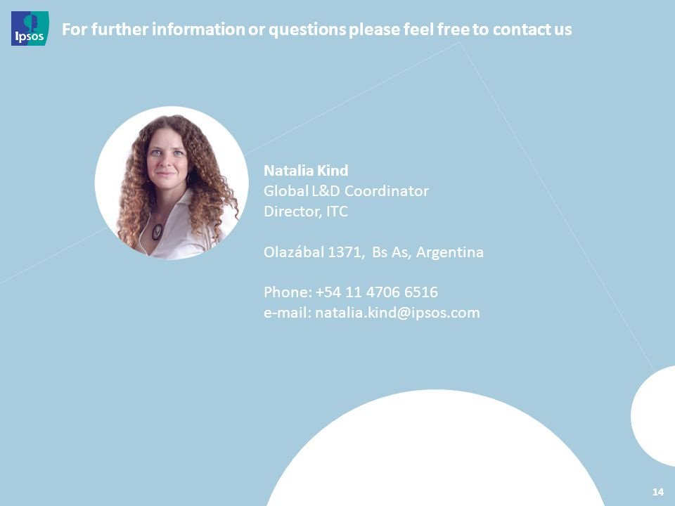 For further information or questions please feel free to contact us 14 Natalia Kind Global L&D Coordinator Director, ITC Olazábal 1371, Bs As, Argentina Phone: +54 11 4706 6516 e-mail: natalia.kind@ipsos.com