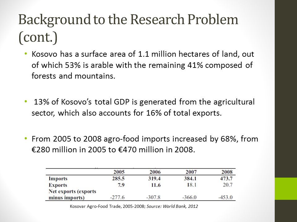 Background to the Research Problem (cont.) Kosovo has a surface area of 1.1 million hectares of land, out of which 53% is arable with the remaining 41% composed of forests and mountains.
