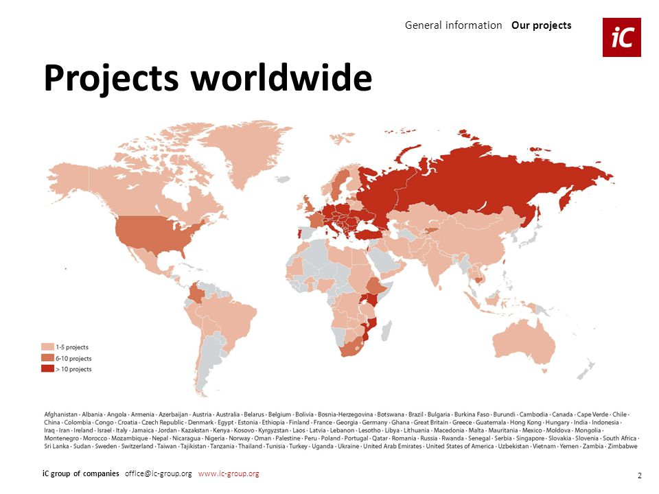 General information Our projects Projects worldwide iC group of companies office@ic-group.org www.ic-group.org 2