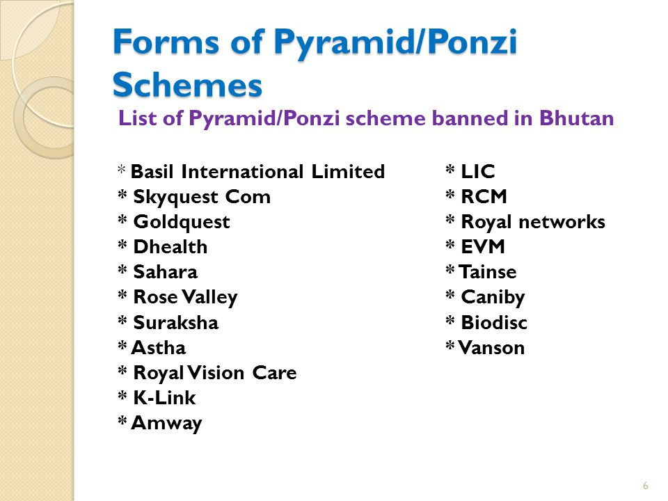 Forms of Pyramid/Ponzi Schemes List of Pyramid/Ponzi scheme banned in Bhutan * Basil International Limited* LIC * Skyquest Com* RCM * Goldquest* Royal networks * Dhealth* EVM * Sahara* Tainse * Rose Valley* Caniby * Suraksha* Biodisc * Astha* Vanson * Royal Vision Care * K-Link * Amway 6