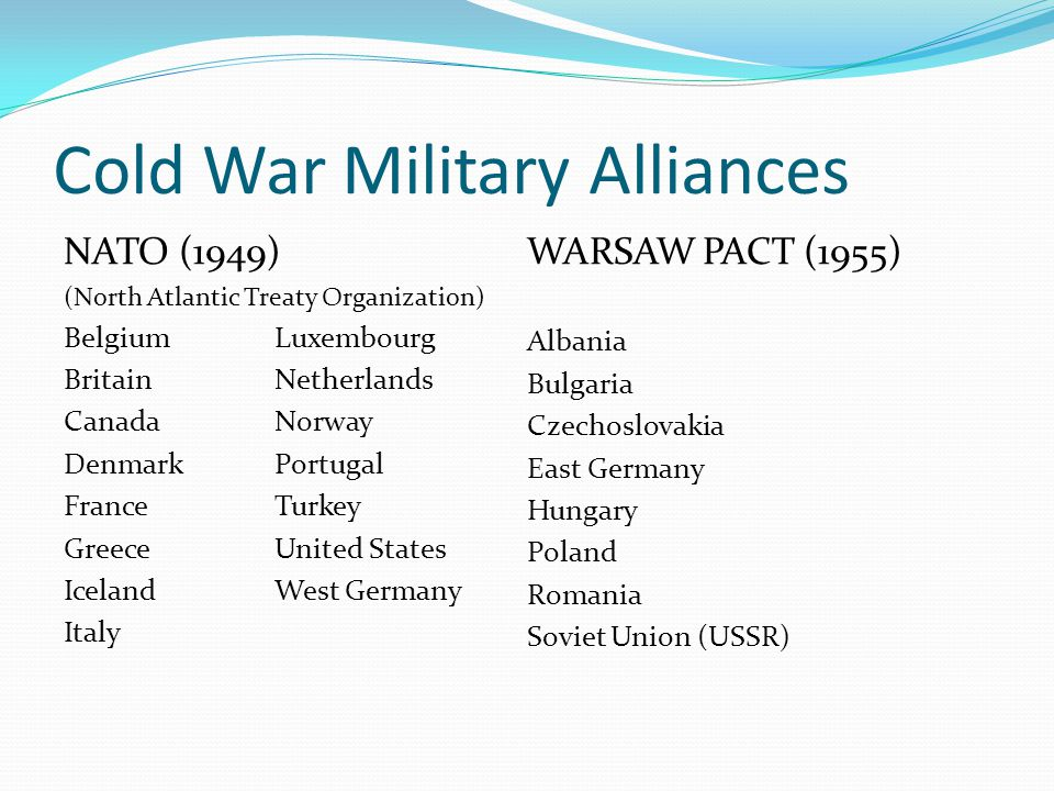 Cold War Military Alliances NATO (1949) (North Atlantic Treaty Organization) BelgiumLuxembourg BritainNetherlands CanadaNorway DenmarkPortugal France