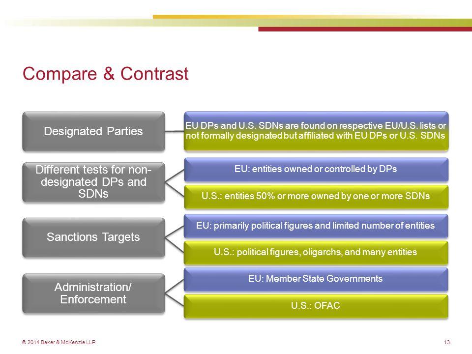 © 2014 Baker & McKenzie LLP Designated Parties EU DPs and U.S.
