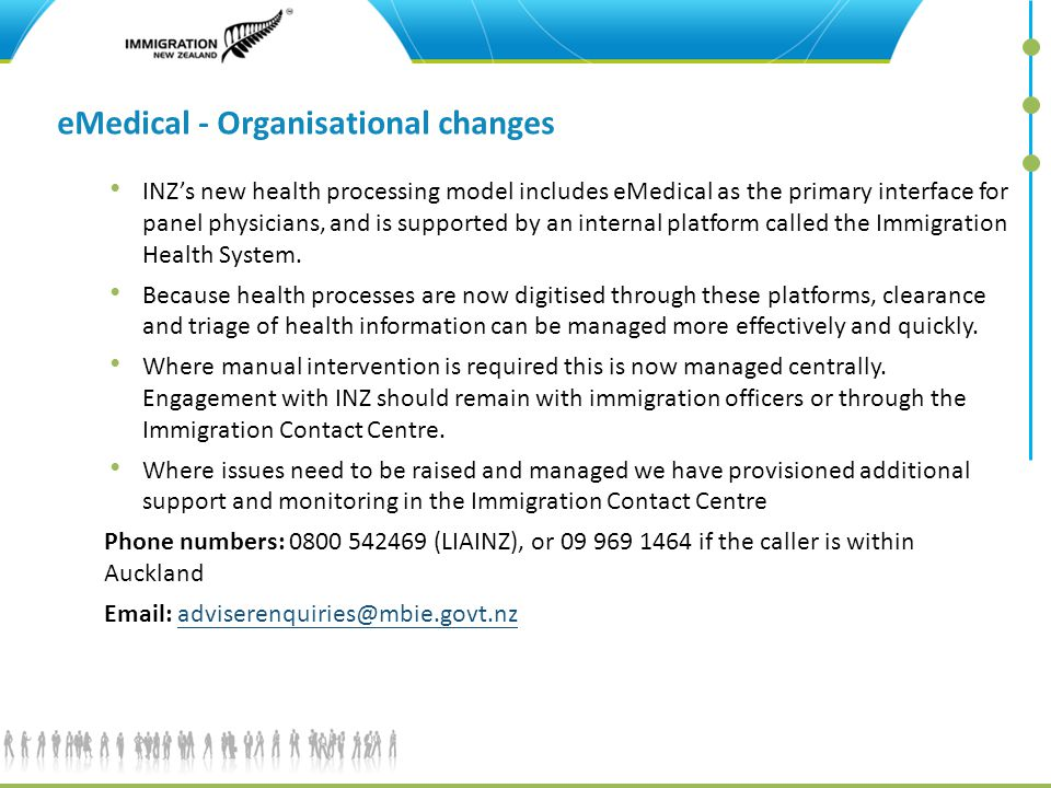 eMedical - Organisational changes INZ's new health processing model includes eMedical as the primary interface for panel physicians, and is supported