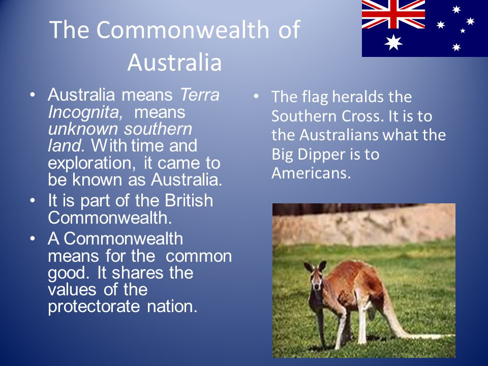 The Commonwealth of Australia Australia means Terra Incognita, means unknown southern land.
