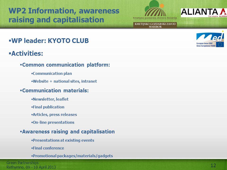 Green Partnerships Rethymno, 09 - 10 April 2013 12 WP2 Information, awareness raising and capitalisation  WP leader: KYOTO CLUB  Activities:  Commo
