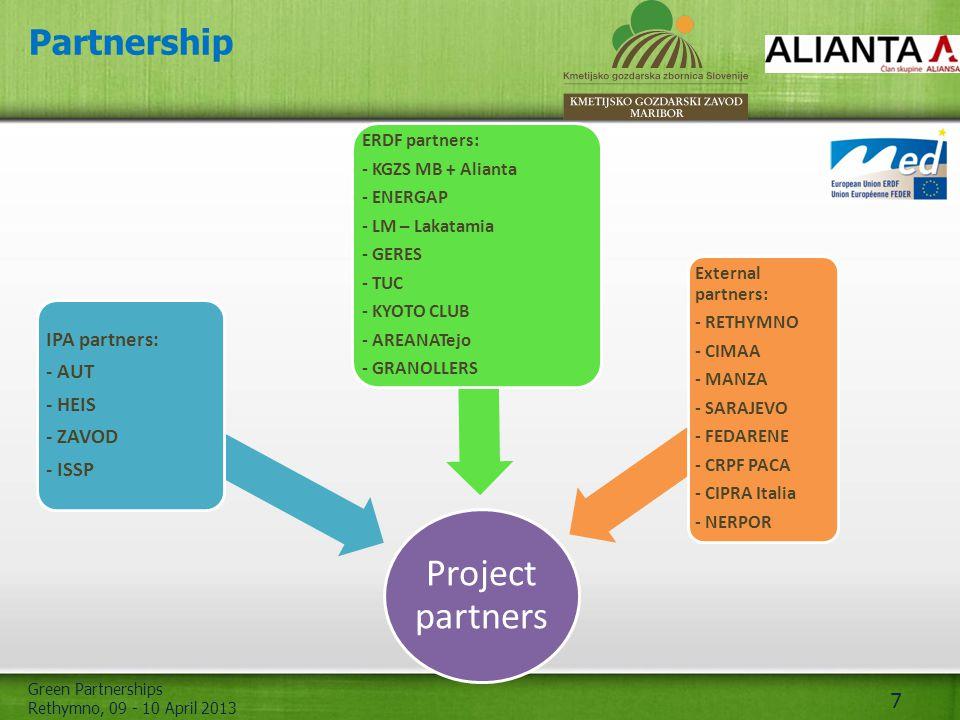 Green Partnerships Rethymno, 09 - 10 April 2013 7 Partnership Project partners IPA partners: - AUT - HEIS - ZAVOD - ISSP ERDF partners: - KGZS MB + Al